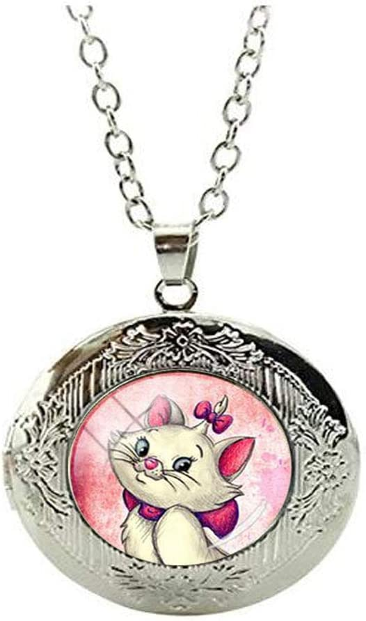 Beautiful Unique Cats Charms Locket Necklace Glass Art Photo Jewelry Birthday Festival Gift Beautiful Gift