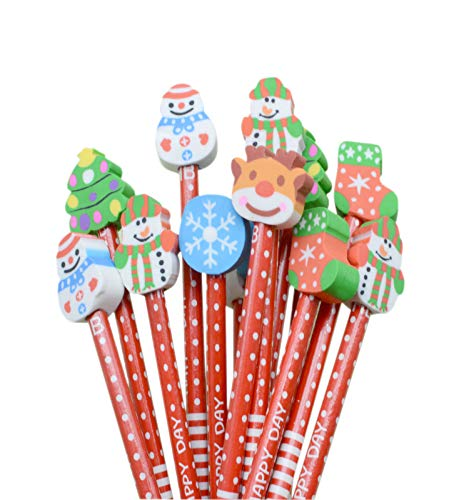 Pack of 40 Pencils with Eraser Bulk Wood Pencils 8.2'' Xmas Pattern for Gift (40pcs with eraser-Christmas styles)