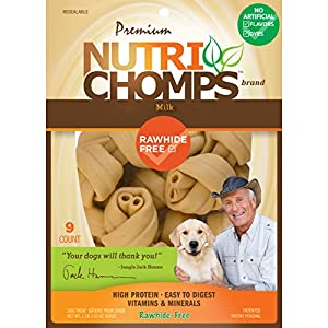 NutriChomps Dog Chews, 4-inch Knots, Easy to Digest, Rawhide-Free Dog Treats, 9 Count Real Milk Flavor
