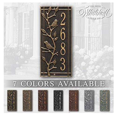 Personalized Cast Metal Address sign. THE WOODRIDGE VERTICAL PLAQUE. Display your address and street name. Custom house number sign. WALL MOUNTED SIGN