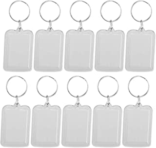 Haobase 10 Pcs Clear Acrylic Blank Insert Photo Picture Frame Keychain Keyring, Rectangle