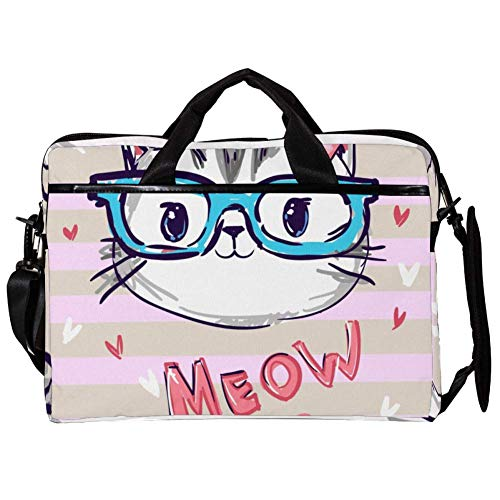 Laptop Bag Cat Kitty with Glasses 15 inch Business Computer Laptop Case Laptop Sleeve Shoulder Messenger Bag Tablet Carrying Case for Women and Men