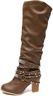 [NEOKER] ブーツ レディーズ ロングブーツ ショットブーツ ハイヒールブーツ 8CM太ヒール 歩き安い 秋冬 ハイカットブーツ ブーティ エレガント 欧米風 防滑 高筒ブーツ 安定感 美脚