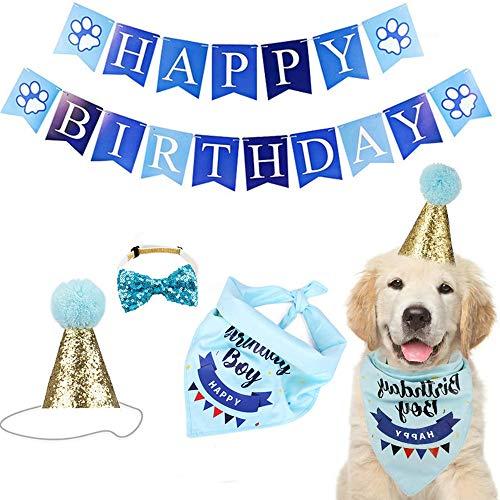 ENCO Hund Geburtstag Bandana, Halstuch Hund Geburtstag Bandana, Hund Geburtstag Bandana Hut Banner Set, für Hund Katze Haustier Oder Welpe Geburtstag Dekor, Partyzubehör