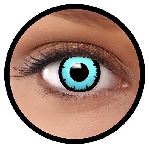 Farbige Kontaktlinsen blau Blue Angel + Behälter, weich, ohne Stärke in blau als 2er Pack (1 Paar)- angenehm zu tragen und perfekt für Halloween, Karneval, Fasching oder Fastnacht Kostüm