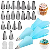 Silicone Icing Piping Bag,Reusable Cream Pastry Bag and 24× Stainless Steel Nozzle Set DIY Cake Decorating Tool(24×Nozzle, 2×Icing Cream Pastry Bag and 2 X Converter)[Energy Class A+]