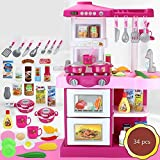 Daily Equipment Toy Boys and Girls Multifunctional Simulation Kitchen Kitchen Tableware Educational Toy Suitcase Kitchen Play Toy Kitchen Sets Kitchen Playset Christmas New Year Gift (Color : Red)