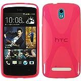 PhoneNatic Hülle für HTC Desire 500 Hülle Silikon pink X-Style Cover Desire 500 Tasche + 2 Schutzfolien