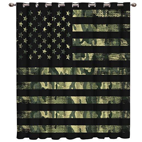 """RUStic Green Camo Military Pattern American Flag Thermal Insulated Blackout Window Curtains Window Treatments 1 Panel Doors Curtains And Drapes for Home,Bedroom, Living Room, 52"""" Widex 63 """" In Length"""