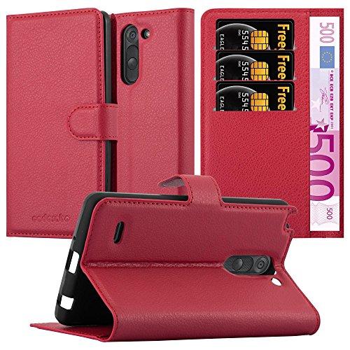 Preisvergleich Produktbild Cadorabo Hülle für LG G3 Stylus - Hülle in Karmin ROT Handyhülle mit Kartenfach und Standfunktion - Case Cover Schutzhülle Etui Tasche Book Klapp Style
