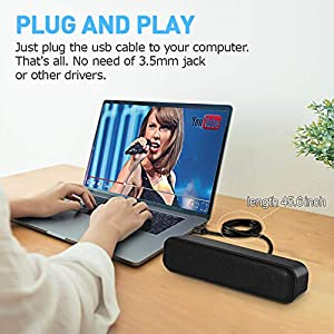 SoundBar Mini USB Lautsprecher, Computer Lautsprecher für PC Computer, Laptop, Notebook, Tablet - Plug and Play
