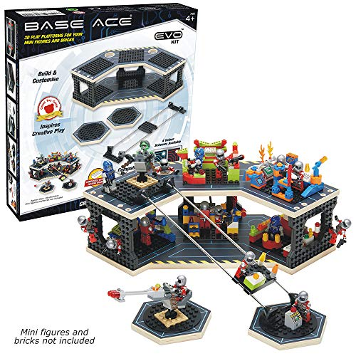 Base Ace Plataforma de Juego 3D para Minifiguras, Kit EVO con líneas Azules, Compatible con Todas Las Marcas líderes de Ladrillos de construcción de Juguetes