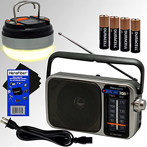 Panasonic Portable AM/FM Radio with Great Reception, Led Tuning Indicator, Compact Size + 4 Batteries + 2 HeroFiber 350 Lumen Lanterns for Camping & Emergency & Cloth, Compatible with Panasonic Radio