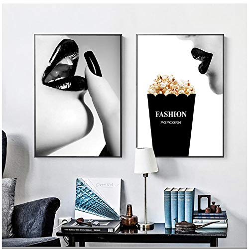 zhaoyangeng Vrouwen muur popart prints en posters zwart-wit moderne afbeeldingen op doek voor woonkamer decoratie - 40X50Cmx2 stuks zonder lijst