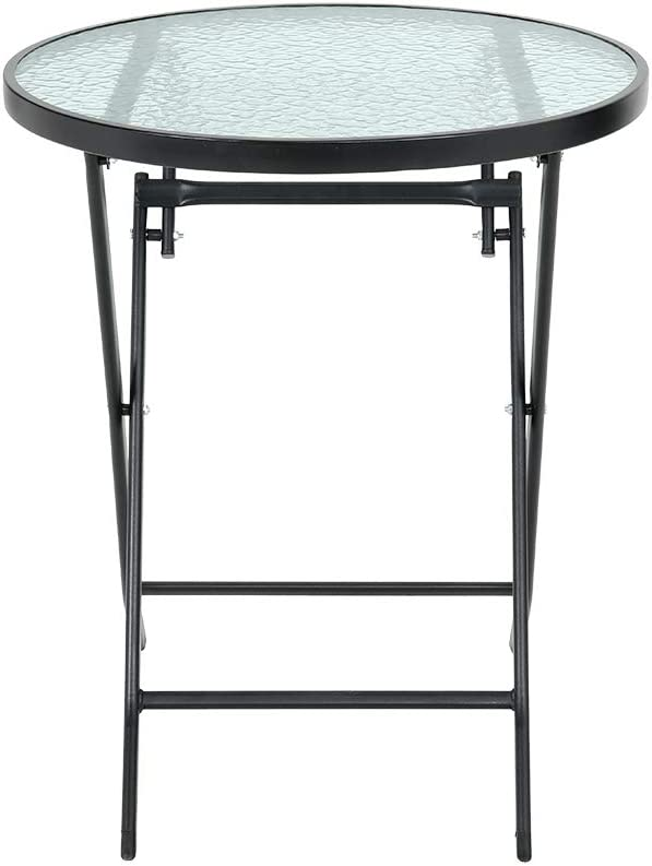 DKIEI Outdoor Garden Round Folding Table Foldable Dining Table Tempered Glass for Garden Patio Balcony Backyard Black 60 60 71cm