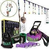 Trailblaze Ninja Warrior Obstacle Course for Kids - 50 ft Slackline Ninja Line Monkey Bars Kit & Bonus Seat Swing - More Obstacles Than Ever w/Adjustable Positions - Perfect Ninja Course Training
