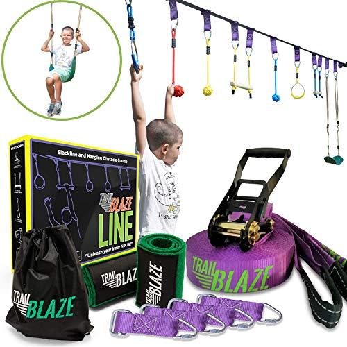 small Obstacle Course for Ninja Warriors – 50ft Slackline Ninja Line Monkey Bars Kit and…