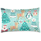 Agnes Carey Santa Deer Polar Bear Penguin Velvet Oblong Lumbar Plush Throw Pillow Cover/Shams Fundas de colchón 20Inch * 30Inch Invisible Zipper Design