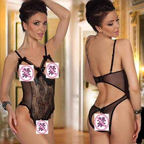 UMIPUBO Conjuntos de Lencería Mujer Ropa Interior Ropa de Dormir Encaje Atractivo Babydol Bodysuit Halter Pijamas Camisón (A:Negro, L)
