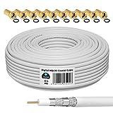 HB-Digital 30m 135dB Cable coaxial SAT HQ-135 PRO 4 veces apantallado para sistemas DVB-S / S2 DVB-C y DVB-T BK + 10 juegos de enchufes F dorados Gratis