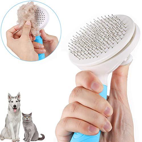 Fttouuy Hundebürste & Katzenbürste Selbstreinigende Haustierbürste Leicht zu reinigende Tierbürsten Bürstenpflege für Langen oder kurzen Haaren