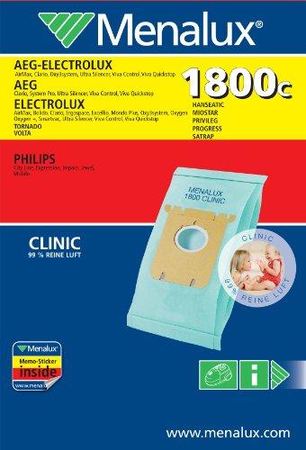 Menalux 1800C Staubbeutel für AEG, Electrolux, Philips, Hanseatic, Privileg, Satrap, Tornado, Volta und MIO Star