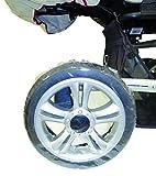 sunnybaby 10900 - Radschutz für Kinderwagen-Räder, Reifenschutz, Schutzhülle/Reifentaschen | bis 14 Zoll / 35 cm Durchmesser | 4 Stück Packung | Folie | Qualität: MADE in GERMANY