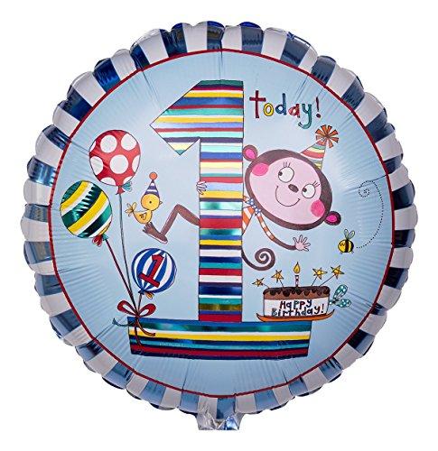 Ballongruesse - Folienballon Zahl für Jungs 'Affe - 1. Geburtstag' als Ballongruss heliumgefüllt im Überraschungskarton
