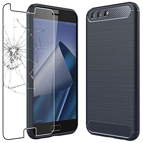 ebestStar - kompatibel mit Asus Zenfone 4 Hülle ZE554KL Kohlenstoff Design Schutzhülle, TPU Handyhülle Flex Silikon Hülle, Dunkelblau + Panzerglas Schutzfolie [Phone: 155.4 x 75.2 x 7.7mm, 5.5'']