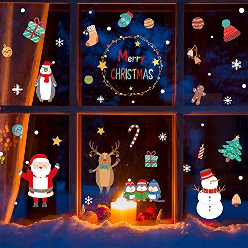 Weihnachtsdeko Fensteraufkleber Schneeflocken Fensterdeko Fensterbilder für Weihnachts Winter- Dekoration Weihnachten Fensterbilder Schneemann Rentier Fensterbilder Aufkleber Aufkleber Weihnachten