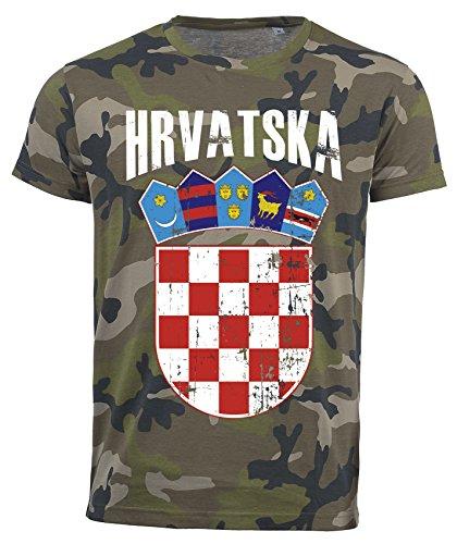 T-Shirt Kroatien Camouflage Army WM 2018 .- Vintage Destroy Wappen D01 (L)