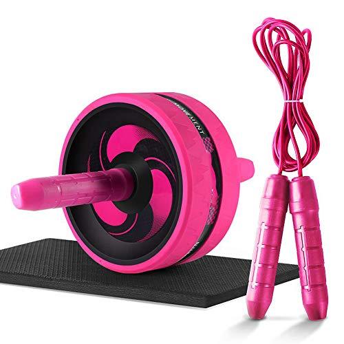 Bauchmuskeltrainer Roller,AB Roller Bauchtrainer mit Knieauflage Seilspringen,Ab Wheel Bauchmuskeltrainer zum Abnehmen Muskelaufbau Oberschenkel-Training Arm Muskel Fitness Bauchtrainer Roller,Pink