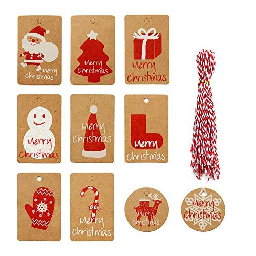 100 etiquetas de papel kraft para regalos de Navidad con 100 hilos de algodón rojo y blanco y un bolígrafo para decoración navideña y embalaje de regalo