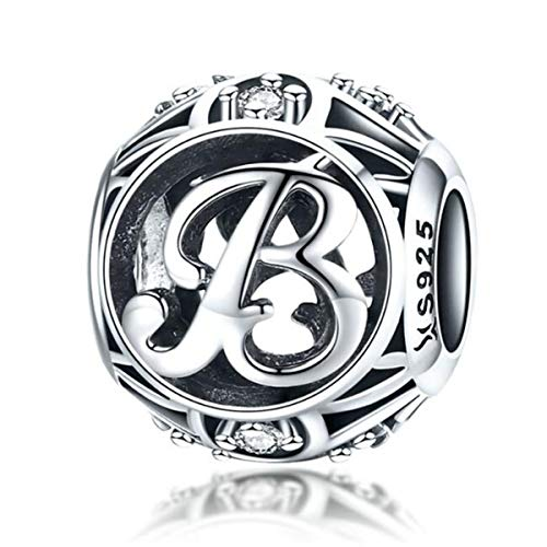 Birthday Charms Genuine 925 Sterling Silver DIY Initial A-Z Charm Alphabet Charms Letter Beads for Pandora Charms Bracelets (Letter B)