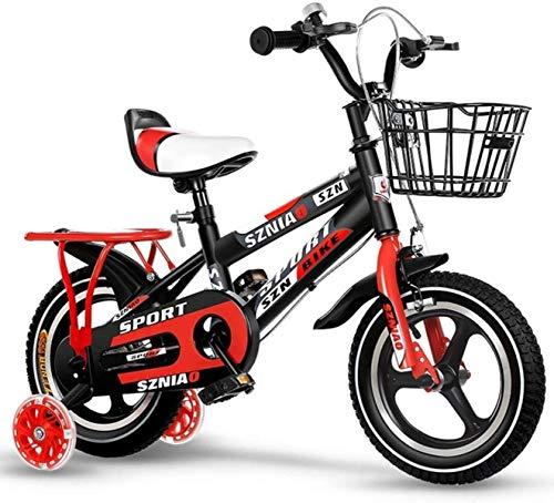 Bicicletas para niños, Coche recto para niños Ciclismo al aire libre Bicicleta Portátil Scooter 2-16 años Bicicleta de niño y niña (Color: naranja, Tamaño: 18Int) ( Color : Red , Size : 12in )