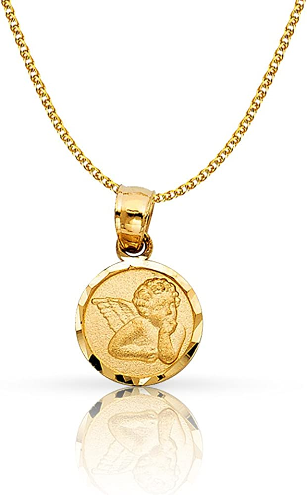 14K Yellow Gold Angel Charm Pendant with 1.2mm Flat Open Wheat Chain Necklace