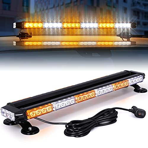 Linkitom LED Strobe Light Bar -Aluminum Double Side Flashing 28.5'' 54 LED High Intensity Emergency Warning Lightbar w/ Strong Magnetic and 16ft Cable for Plow Truck Traffic Safety