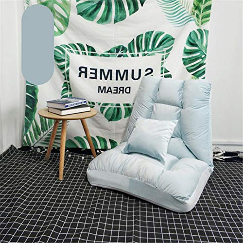 JOMSK Sofá de Silla de Lectura de Juego Ajustable de 14 Posiciones de Espuma de Memoria Almohada Silla Suelo-Gaming Chair-cómodo Espalda-Cojín del Dormitorio Rocker (Color : Blue, Size : 45x55x50cm)