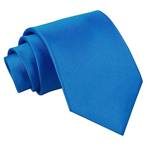 DQT Hombres Llano Satin Boda Clásico Regular Corbata Azul Eléctrico