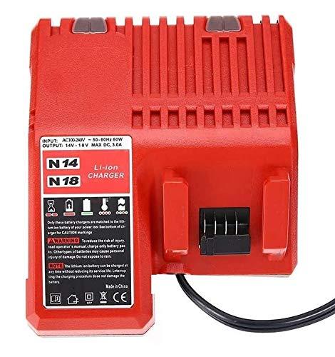 Cargador 3A, reemplace el cargador de batería de iones de litio Milwaukee 14.4v-18v, 48-11-1850 48-11-1852 48-11-1840 (con enchufe estándar de la UE)