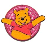 Iron on Patches - Winnie The Pooh 'Little Stars' Disney - Pink - 8,2x7,9cm - Application Embroided Patch Badges