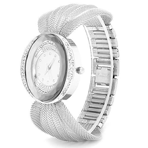 El Reloj De Pulsera, Las Mujeres De Moda del Cuarzo Miran El Peso Ligero Elegante para El Desgaste De La Vida Diaria(Plata)