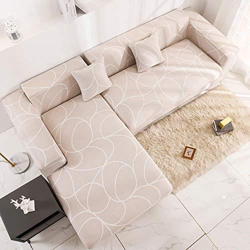 Funda Elástica para Sofá Cubierta del sofá Funda de sofá Funda elástica Protectora para sofá Tela de Seda Blanca ARC Dream Space Milk Viene con 3 Fundas de Almohada