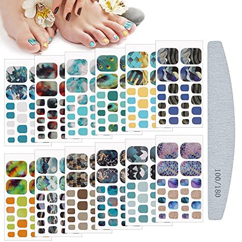 Kalolary Fußnagel Sticker Fußnägel Nagelfolie, 12 Blatt Marmorierung Fußnägel Nail Art Sticker mit Nagelfeile Nageldesign Decals Nail Selbstklebende für Fußnagel Nagelkunst