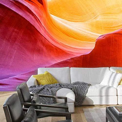 ZJfong A Warm - gekleurde rok woonkamer achtergrond 3D Wallpaper Mural 350 x 245 cm.