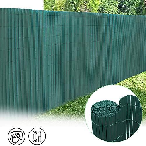 Froadp 90x500cm PVC Sichtschutzmatte Windschutz Imitat Bambus Sichtschutzzaun Verkleidung für Außenbereich Garten Balkon Terrasse(Grün)
