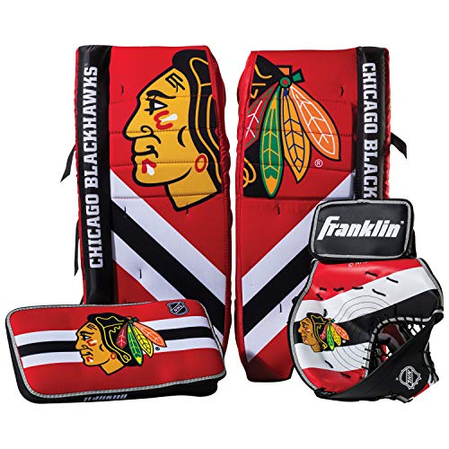 Franklin Sports Chicago Blackhawks Street Hockey Goalie Equipment Set - S/M Goalie Pads Catch Glove & Blocker - NHL Official Licensed Product