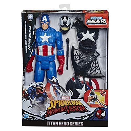 Hasbro E8683 Spider-Man Maximum Venom Titan Hero Venom Captain America, mit Starter, Projektil, 6 Accessoires, ab 4 Jahren