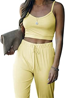 Workout Set for Womens 2 Piece Outfits - Solid Sleeveless Crop Tops and Casual Long Pants Tracksuit Sports