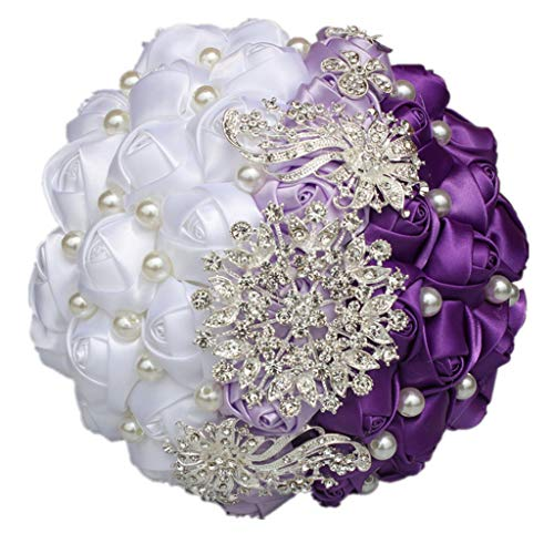 UYT Bridal Bouquet Artificial Wedding Bouquet Decoration with Shiny Jewels and Masonry Three-color Matching Noble Temperament Bride Holding Flowers Wedding Party Decorations
